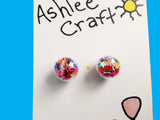 Multicolored Stars Crystal Ball Earrings