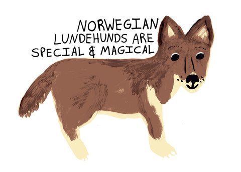 Norwegian Lundehunds are Special & Magical Dog Breed Art Poster Print