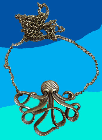 Bronze octopus necklace with a blue ocean colored background