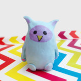 Blue and purple whimsical owl figurine