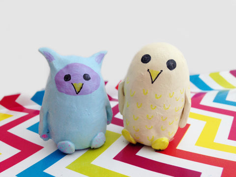Cute colorful whimsical owl figurines