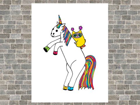 Whimsical Owl Riding Magical Unicorn Rainbow Art Poster Print