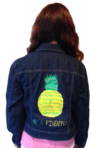 Be a Pineapple Custom Hand Painted Jean Jacket - Size Junior Large (12/14)/Small Adult