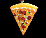 Closeup of pizza slice necklace