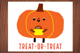 Treat-Or-Treat Trick-Or-Treating Adorable Pumpkin Halloween Poster Print
