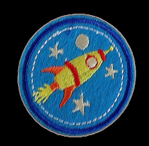 Rocket ship outer space stars planets iron on patch