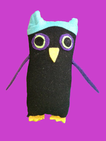 Sock Owl - Teal & Black Plush Owl - Front
