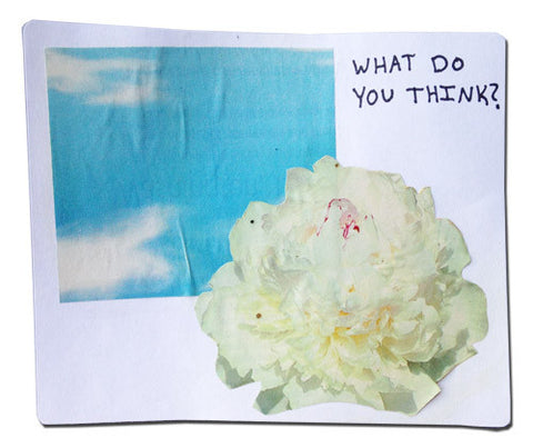 """What Do You Think?"" abstract collage sticker with clouds and a flower"