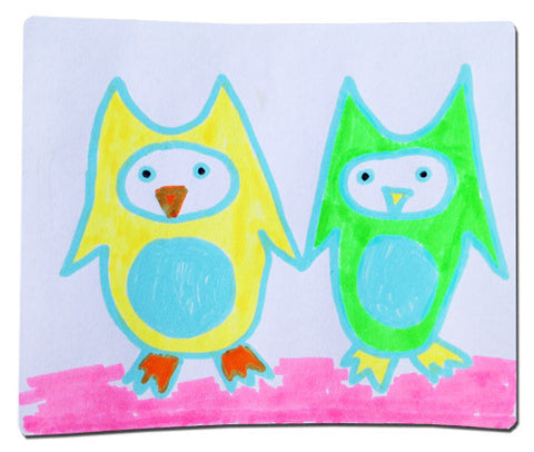 Neon sticker with whimsical owls holding hands