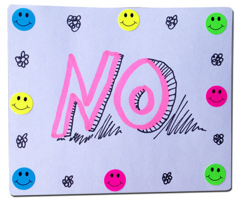 "Pastel punk ""NO"" handmade sticker design with sarcastic smiley faces"