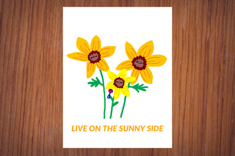 "Live On the Sunny Side Sunflower Family 11"" x 8.5"" Positive Motivational Poster"