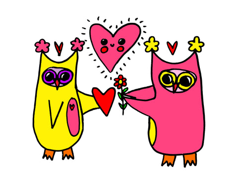 Owls in Love Cute Heartwarming Romance Romantic Love Owls Owlo Wall Art Poster Print