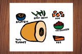 Vegetarian/Vegan Thanksgiving Food Dinner Poster Fall Autumn Print
