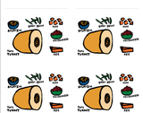 "Adorable Thanksgivng Stickers - Sheet of 6 - 3-1/3"" x 4"" Stickers"