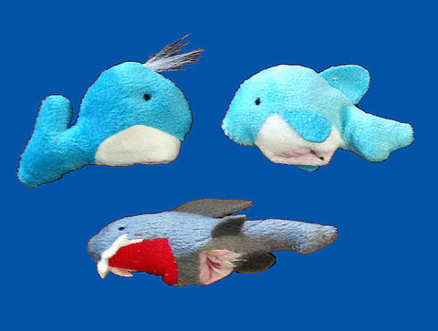 Whale, Dolphin, & Shark Sea Animal Finger Puppet Set