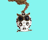 White enamel owl necklace with jewels