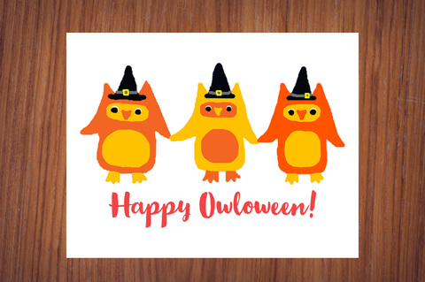 Happy Owloween Witch Owls Adorable Owl Halloween Poster Print