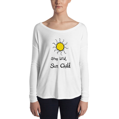 Stay Wild, Sun Child Boho Bohemian Feminine-Cut Boat/Scoop Neck Long Sleeve Tee