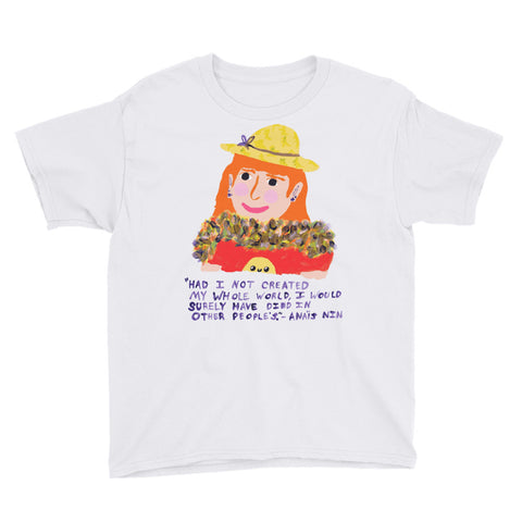 Funky Orange Hair Anais Nin Quote Create Your Own World Empowering Magical Youth Short Sleeve T-Shirt