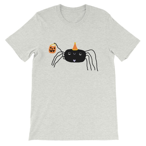 Hopeful Trick-or-Treating Spider Halloween Short-Sleeve Unisex T-Shirt