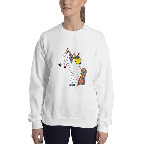 Whimsical Owl Riding Magical Unicorn Rainbow Unisex Sweatshirt