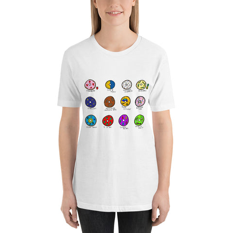 12 Whimsical Colorful Fun Doughnuts Bakery Food Sweets Short-Sleeve Unisex T-Shirt