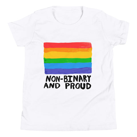 Non-Binary and Proud LGBTQIA+ Pride Gender Identity Enby NB ACPride Series Unisex Youth Kids Short Sleeve T-Shirt