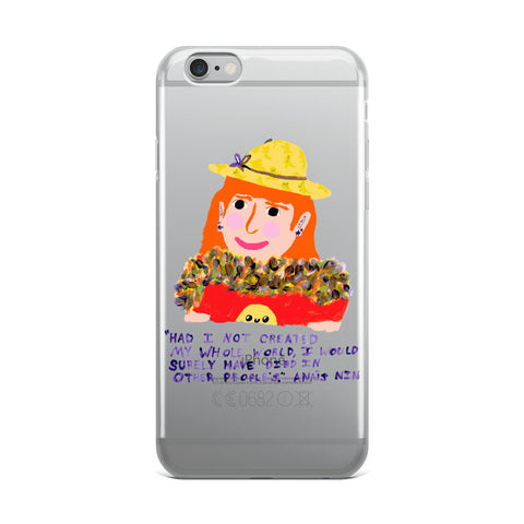 Funky Orange Hair Badass Anais Nin Quote Create Your Own World Empowering Magical iPhone Case