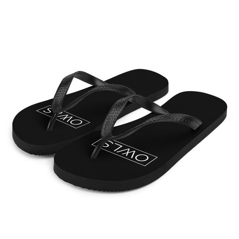 Your Theme: OWLS Stylish Fun Black & White Flip-Flops