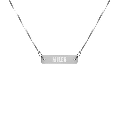 Miles Name Engraved Silver Bar Chain Necklace