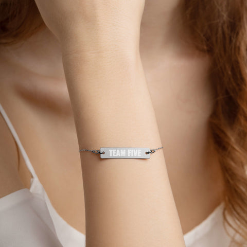 Team Five 5 Engraved Silver Bar Chain Bracelet