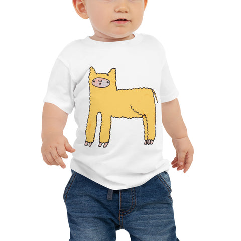 Yellow Cute Fluffy Alpaca Llama Unisex Baby Infant Jersey Short Sleeve Tee