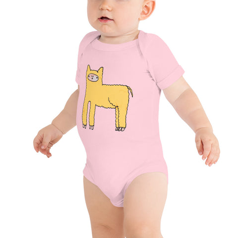 Yellow Cute Fluffy Alpaca Llama Infant Baby One Piece Onesie Bodysuit