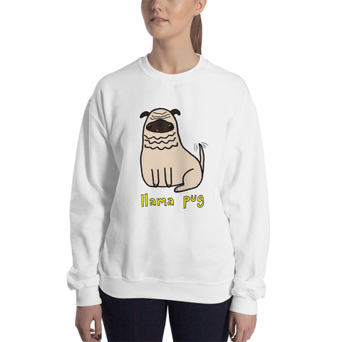 Llama Pug Alpaca Dog Cute Dogs Pugs Kawaii Adorable Pet Unisex Sweatshirt