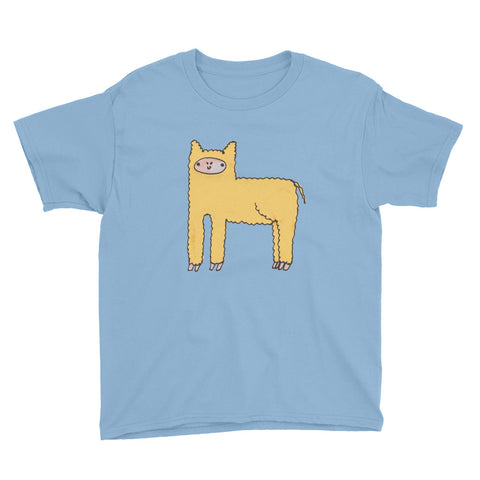 Yellow Cute Fluffy Alpaca Llama Unisex Youth Children Kids Short Sleeve T-Shirt