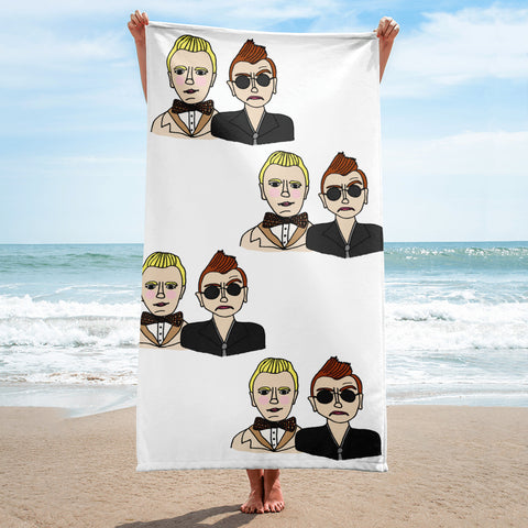 Good Omens Aziraphale and Crowley Ineffable Husbands Bath Beach Towel