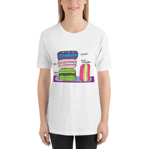 Colorful Fun Whimsical Macarons Bakery Dessert Sweet Short-Sleeve Unisex T-Shirt