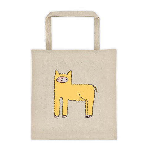 Yellow Cute Fluffy Alpaca Canvas Tote Bag