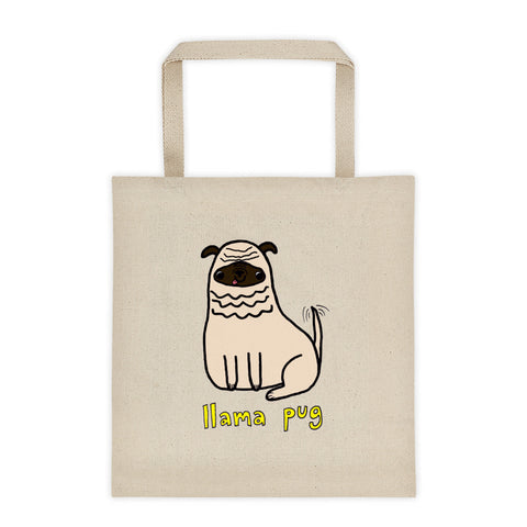 Llama Pug Alpaca Dog Cute Dogs Pugs Kawaii Adorable Pet Canvas Tote Bag