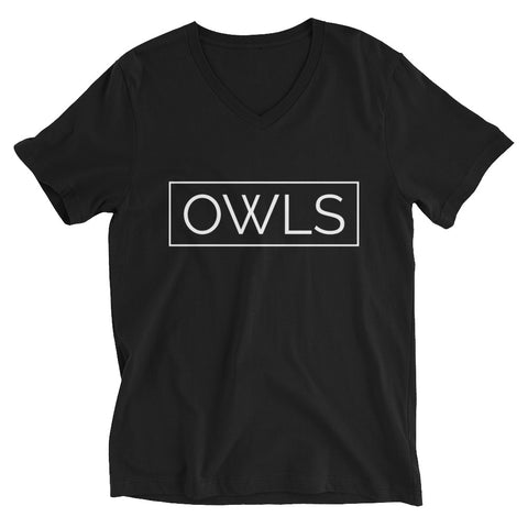 Your Theme: OWLS Stylish Minimalist Fun Black & White Unisex Short Sleeve V-Neck T-Shirt