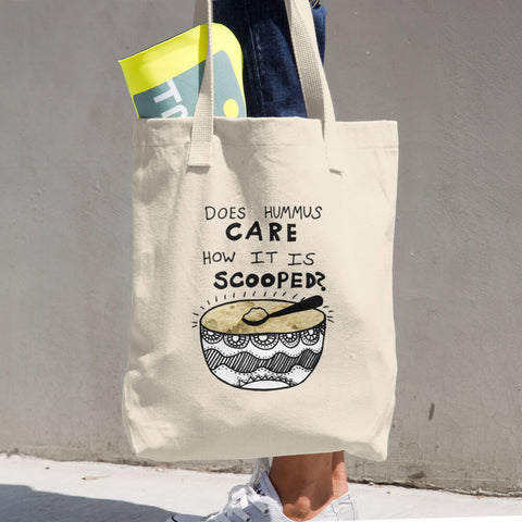 Does Hummus Care How it is Scooped Funny Weird Absurdist Vegan Foodie Cotton Tote Bag