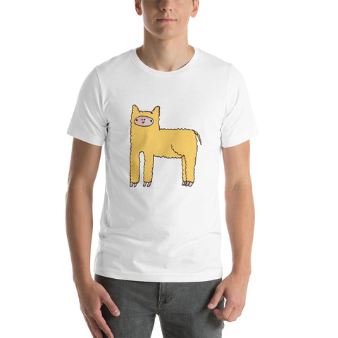 Yellow Cute Fluffy Alpaca Short-Sleeve Unisex T-Shirt
