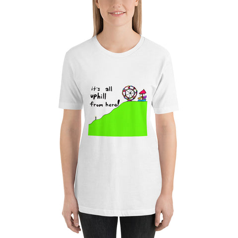 It's All Uphill From Here! Whimsical Carousel Ferris Wheel Playful Short-Sleeve Unisex T-Shirt