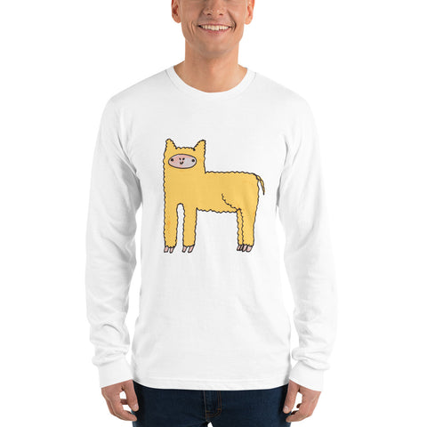Yellow Cute Fluffy Alpaca Llama Long Sleeve T-Shirt