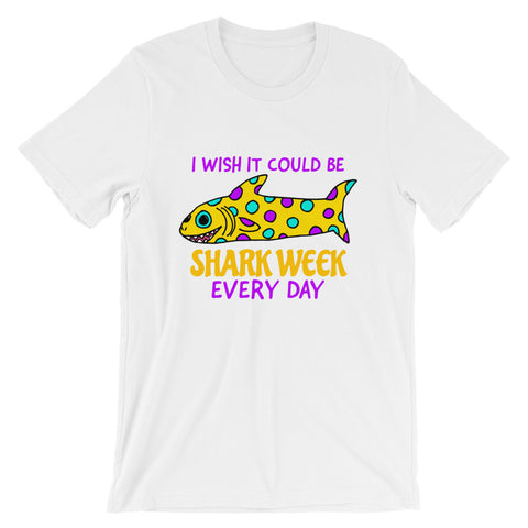 I Wish It Could Be Shark Week Every Day COLORFUL POLKA DOT SHARK Short-Sleeve Unisex T-Shirt
