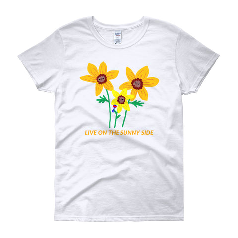 Live On the Sunny Side Sunflower Family Feminine-Cut T-Shirt