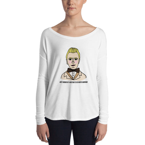 Just Enough of a Bastard to Be Worth Knowing Good Omens Aziraphale Ineffable Feminine-Cut Long Sleeve Tee