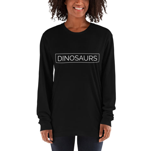 Your Theme: DINOSAURS Stylish Fun Black & White Long Sleeve T-Shirt