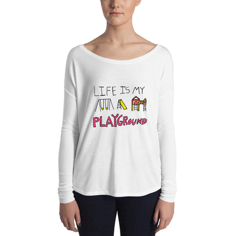 Life is My Playground Feminine-Cut Long Sleeve Tee