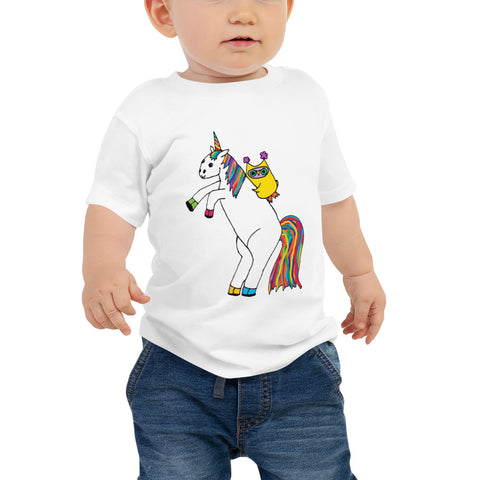 Whimsical Owl Riding Magical Unicorn Rainbow Baby Jersey Short Sleeve Tee